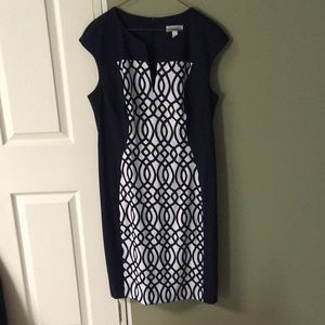 Dress Barn dress, navy blue and white